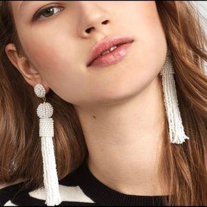 BaubleBar White Tassel Earrings